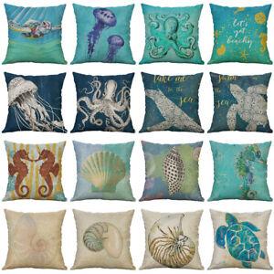 18-034-Octopus-Conch-Pattern-Cotton-Linen-Pillow-Case-Cushion-Cover-Home-Decor