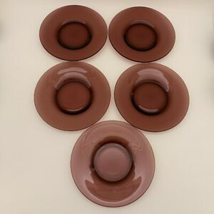 Unbranded-Purple-or-Brown-Glass-Bread-amp-Butter-Plates-6-1-2-034-Lot-of-5