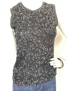 NWT-DKNY-Beaded-and-Sequin-Top-Pullover-Sleeveless-Knit-Crewneck-Black-MED