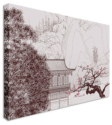 Large Abstract Japanese Painting Courtyard Canvas Wall Art Pictures