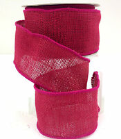 Burlap Wired Ribbon>fuchsia>2 1/2 Wide X 10 Yard Roll