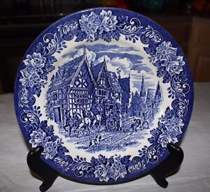 Image is loading Vtg-English-Ironstone-Tableware-Blue-Dickens-9-5- & Details about Vtg English Ironstone Tableware Blue Dickens 9.5