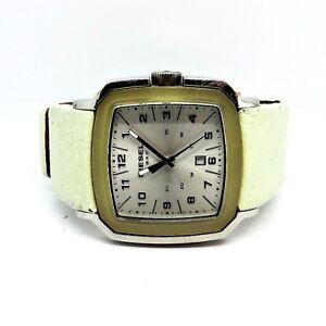 Diesel-Big-Unisex-Watch-DZ-5110-White-Leather-Strap-12-24-Dial-Date-New-Battery