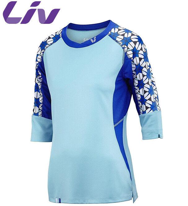 Liv Charm 3 4 daSie MTB Radfahren Jersey - Aqua Blau - M L