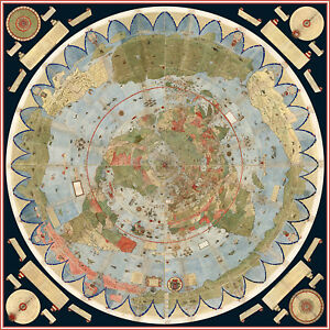 1587 Flat Earth Map of the World Urbano Monte Historic Wall Poster