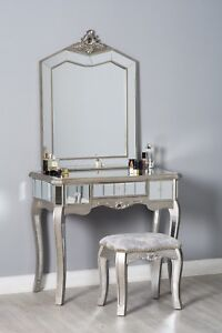 Superieur Details About Mirrored Glass Dressing Table Stool French Style Chic Antique  Bedroom Furniture