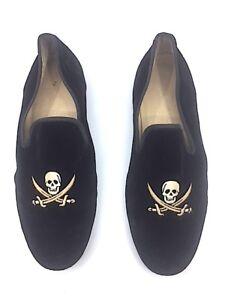 RARE-Men-039-s-495-Stubbs-amp-Wootton-Black-Velvet-034-SKULL-034-Slippers-Loafers-Shoes