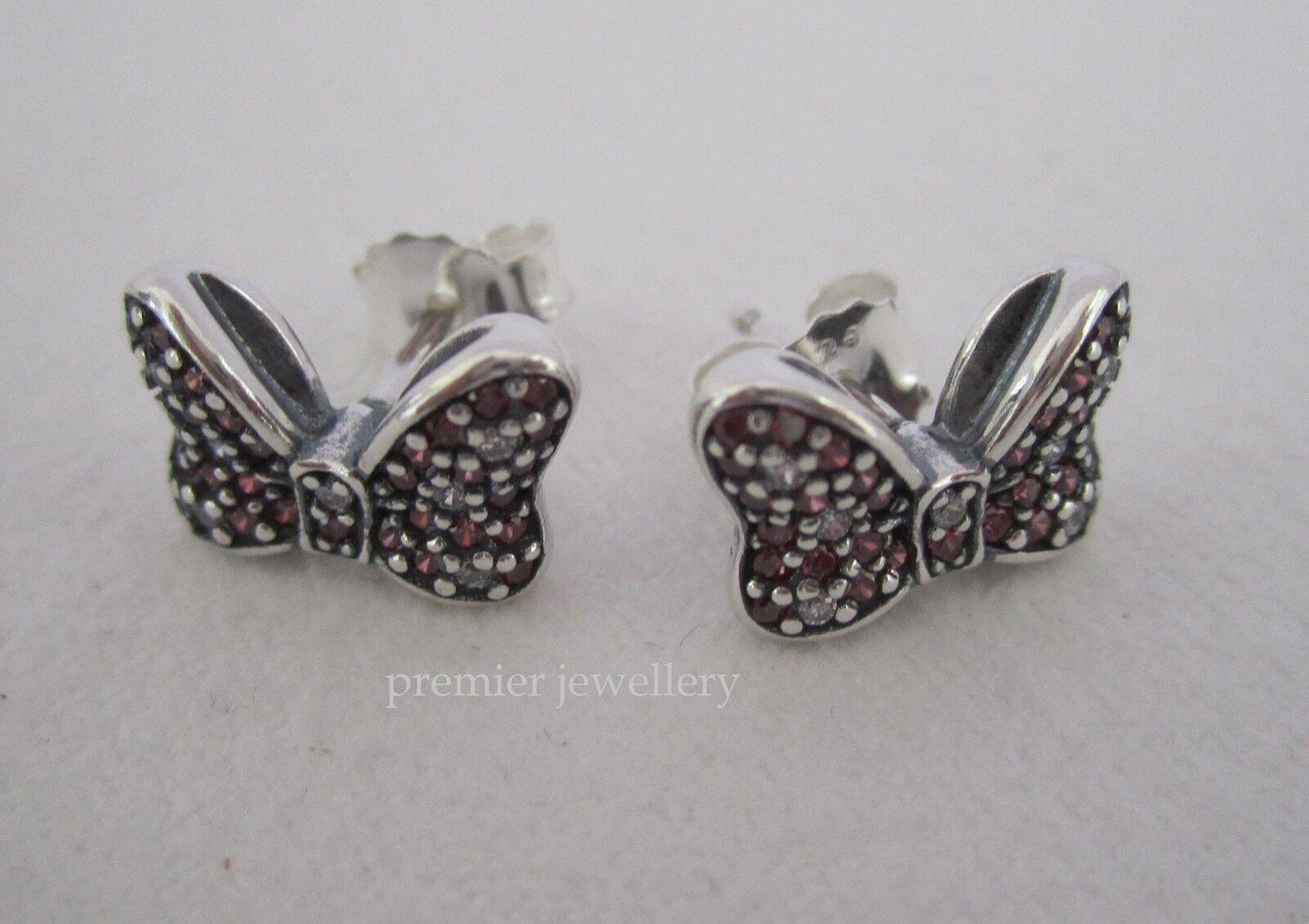 3398dc0f1 Genuine PANDORA Disney Sparkling Minnie Bow Silver Stud Charm ...