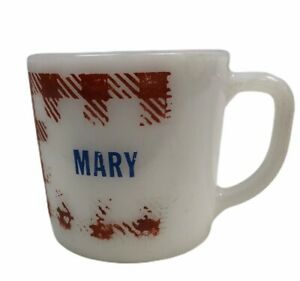 Vintage-Westfield-White-Milk-Glass-Coffee-Name-Mug-Mary-Red-Gingham-Check-Cup