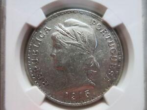 PORTUGAL-1-Escudo-1915-NGC-AU-58-UNC-Silver-crown