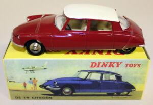 ATLAS-DINKY-TOYS-Repo-SCALA-530-CITROEN-DS-19-Rosso-Bianco-Modello-Diecast-Auto