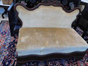 Image Is Loading Victorian Mahogany Carved Slipper Sofa Gold Velvet Upholstery