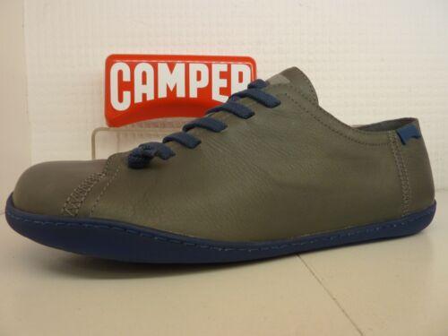 Camper Peu Cami K100300-005 Grey Blue Leather Elastic Lace Mens Slip On Shoe