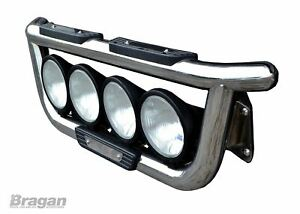 Pour-Daf-Xf-105-Acier-Inoxydable-avant-Grille-Barre-Lumineuse-A-Rond-Spots-X4