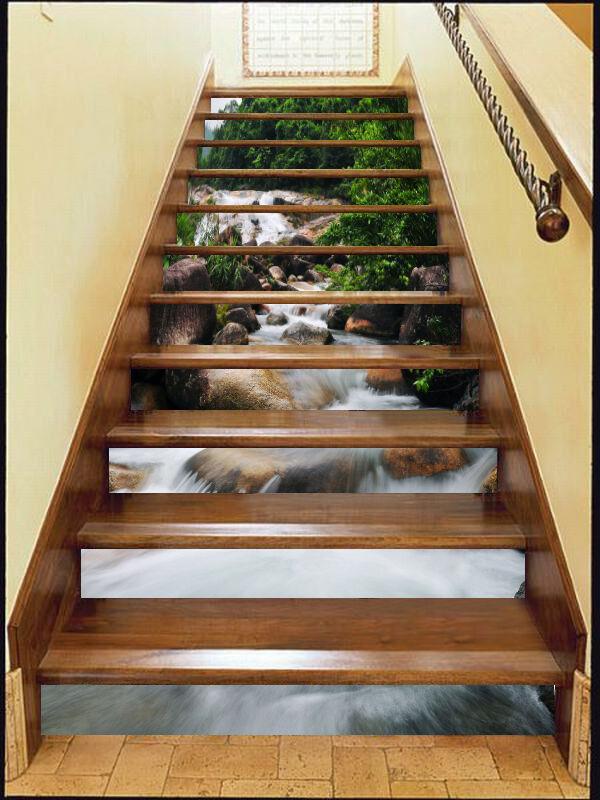 3D River Stone escaliers contremarches Décoration Photo Murale Autocollant Vinyle Papier Peint US