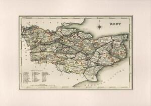 County Map Of England.Details About County Of Kent Reproduction Mounted Map S Lewis County Maps England Wales 1848