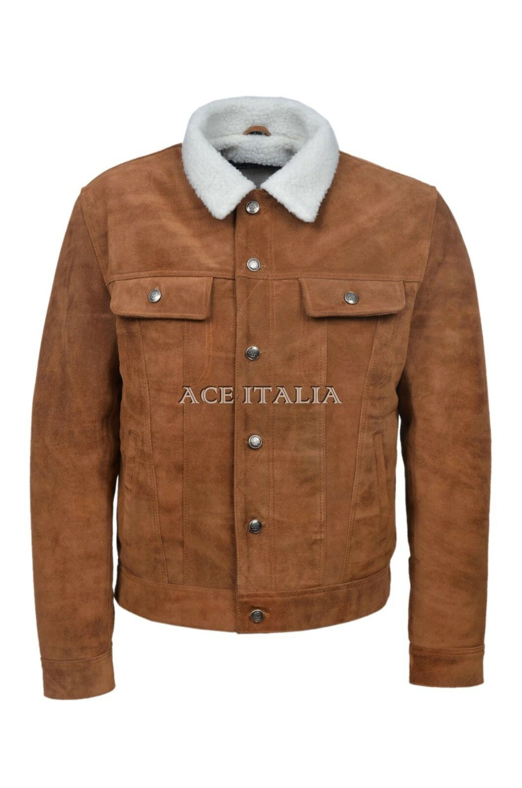 Men Lewis Jeans Jacket Real Suede Leather Tan Borg Faux Shear Ling Lined Jacket