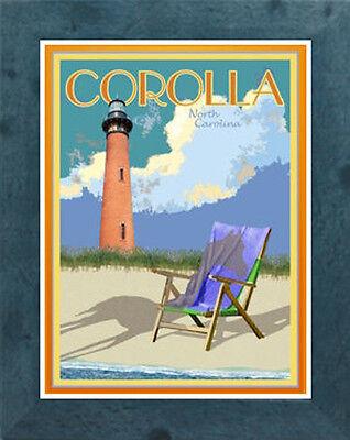 Corolla Nc Framed Vintage Art Deco Style Travel Poster By Aurelio Grisanty Ebay