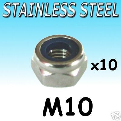 Stainless Steel NYLOCK lock NUTS nut M10 boat etc 10pk