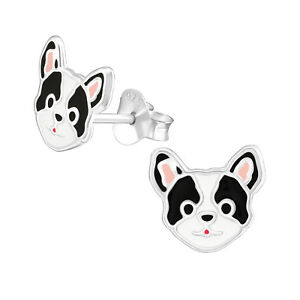 925 Sterling Silver Black /& White Puppy Dog Kids Girls Women Stud Earrings  Gift