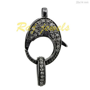 Pave-Diamond-Lobster-Lock-Clasp-Finding-925-Sterling-Silver-WONDERING-Jewelry