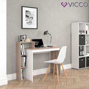 VICCO Schreibtisch LEO Weiß Sonoma Eiche Arbeitstisch Bürotisch Regal PC Tisch