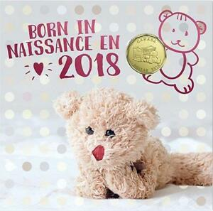 Born-in-2018-Baby-Gift-Coin-Set-Canada-Special-Ed-1-Loonie-Teddy-Bear-Cradle