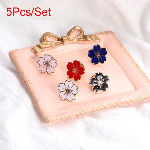5Pcs//Set PINS Bouton Sakura Broches Fleurs de Cerisier Fleur Veste Sac badge