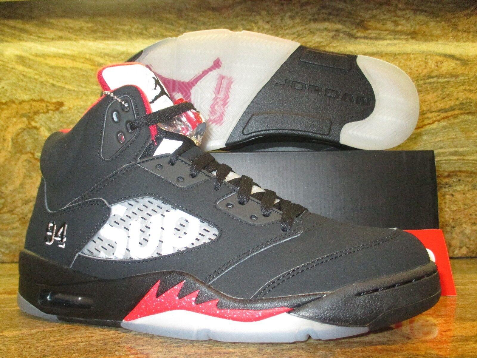 Nike Air Jordan 5 V Retro SUPREME SZ 14 Black Varsity Red BRED Bulls 824371-001