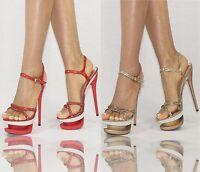 Damenschuhe Rot Gold 35-40 Plateau Strass Pumps Damen Schuhe Party High Heels