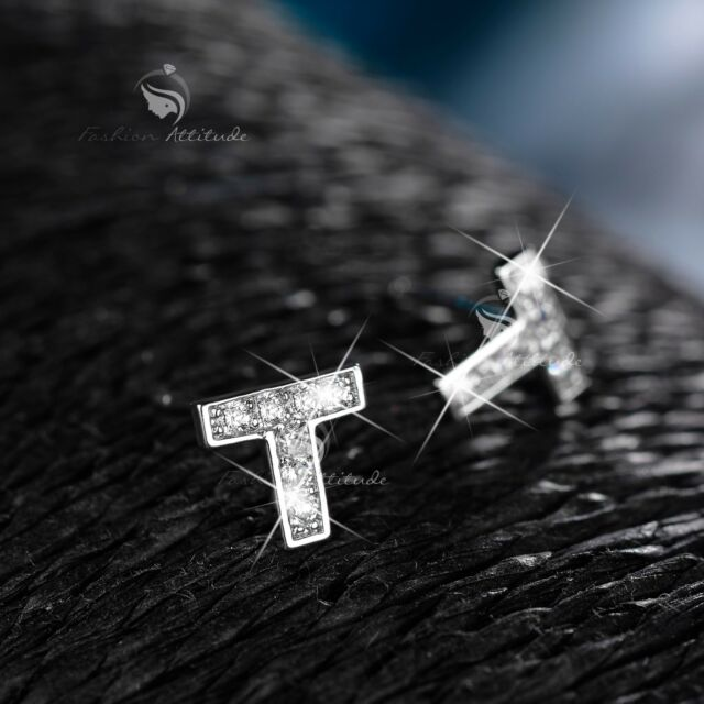 18k white gold gf made with SWAROVSKI crystal stud earrings letter T
