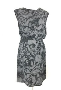 M-amp-S-Limited-Collection-Dress-10-UK-Grey-Black-Shift-Abstract-Floral-Work-Office