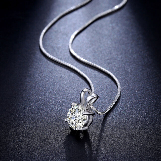 Necklace Jewelry CZ Crystal 925 Sterling Silver Chain Pendent Fashion Women Gift