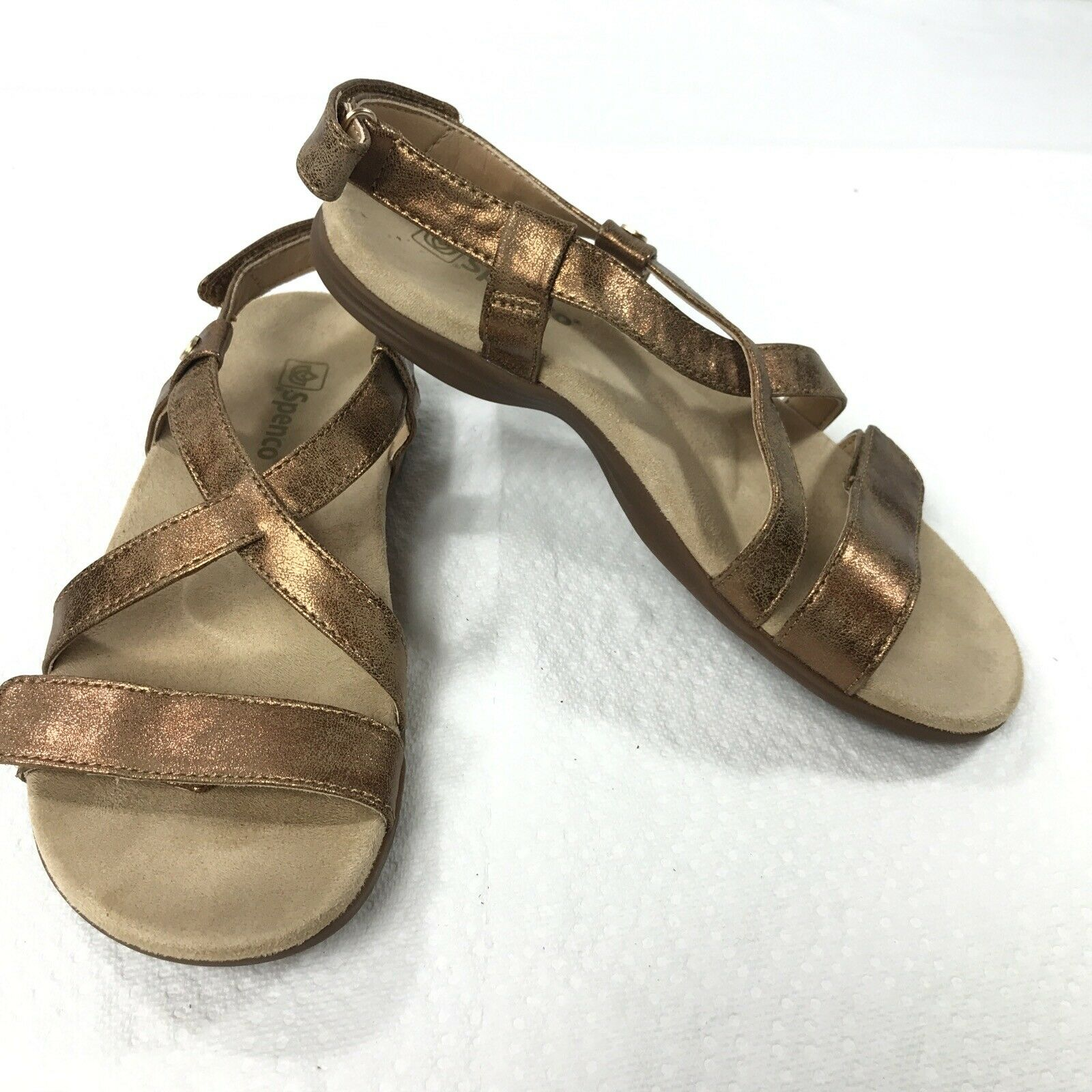 Spenco Cross Strap Ankle Sandals gold Womens Size 7