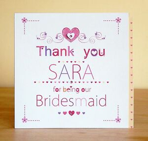 Flower Girl Bridesmaid Maid Of Honour Thank You Card Personalised