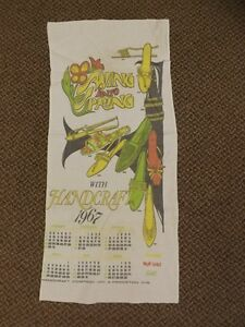 Vtg 1967 Advertising Calendar Hand Towel Handcraft Princeton WI Muk Luks Shoes