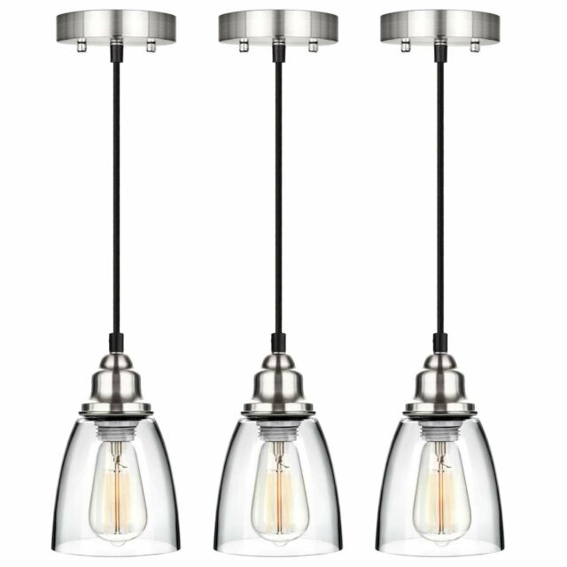 Kitchen Pendant Light Brushed Nickel Fixture Vintage Mini Glass Hanging  Island 3