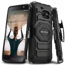 HTC 10 Case Cover Swivel Belt Clip Hard Shockproof Bumper Kickstand Black New