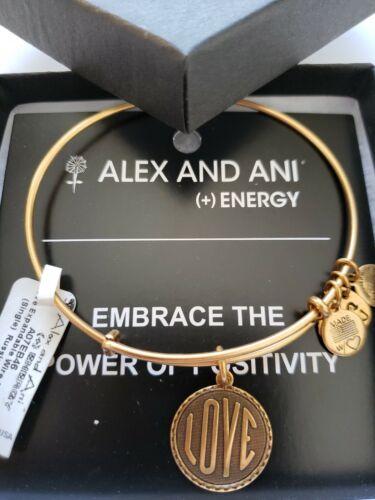 Alex and Ani LOVE Gold Tone Charm Bangle New W//Tag Card /& Box