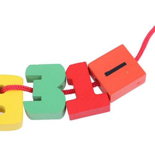 24Pcs Baby Wooden DIY Toy Fruit Animal Stringing Threading Wooden beads toy US
