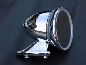 "4/"" Classic MG British Style LH Left Fender Door Mounted GT Racing Chrome Mirror"