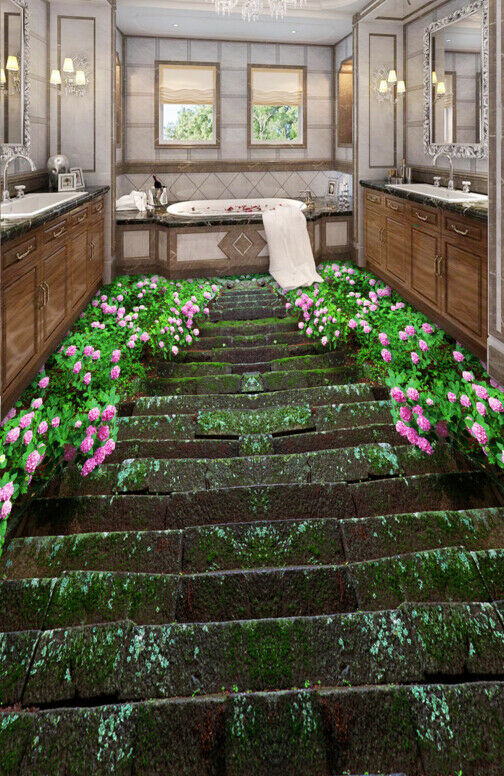3D Flowers Moss Stairs 7 Floor WallPaper Murals Wall Print Decal AJ WALLPAPER US