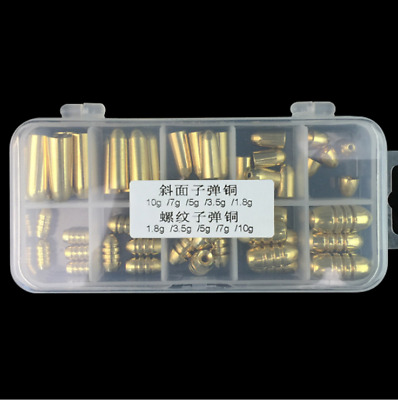 50Pcs Fishing Sinker Gold Oval Shape High-quality Lead Weights Sinker Kit Box