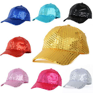 Women-Men-Glitter-Sequin-Baseball-Caps-Snapback-Hats-Outdoor-Adjustable-Reliable