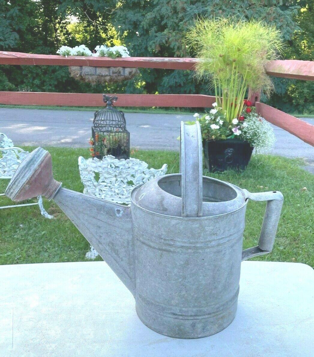 Rustic Vintage Antique Galvanized Watering Can w/Sprinkler Head (D)