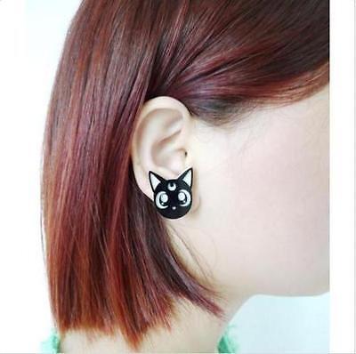 Harajuku Ainme Sailor Moon Cute Lovely Luna Black Cat Earrings Acrylic Cosplay