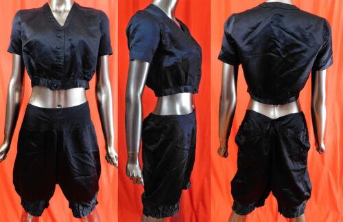 Vintage 1920s Black Silk Romper Playsuit Pajamas D