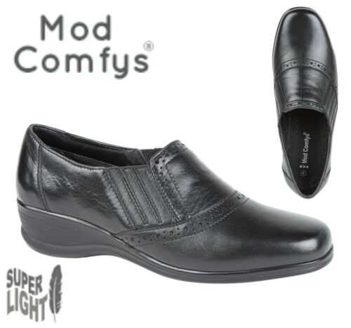 LADIES Soft Black Leather Size 3 4 5 6 7 8 9 Twin Gusset Light Slip On Shoes