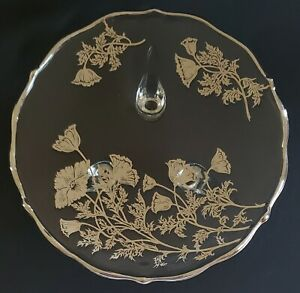 Etched-Poppy-Three-Foot-Clear-Glass-Serving-Plate-Platinum-Trim-Flowers-7-1-2-034