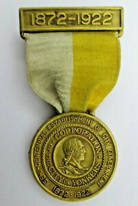 City-of-Yonkers-Semi-Centennial-Medal-with-Ribbon-1872-1922-Whitehead-amp-Hoag